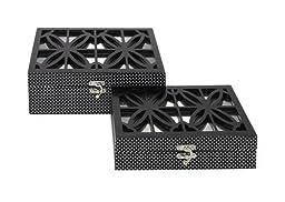 Benzara 62598 Set Of 2 Beautiful And Adorable Wooden Flat Mirror Box