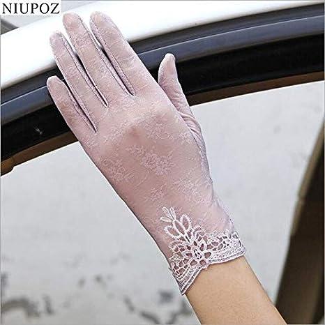 WSDMY /Sommer Frauen UV Sonnenschutz Kurze Sonne Weibliche Handschuhe Mode Ice Silk Spitze Fahren Von D/ünnen Touchscreen Dame Handschuhe G02E