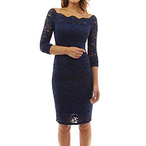 Kolylong® Kleid damen Frauen Elegant Schulterfrei Spitze Kleid Vinatge  Rückenfreies Kleid Knielang Slim Festlich Kleider c11269208e
