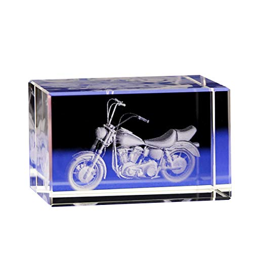 Jaswass Crystal Motorcycle 3D Laser Crystal Cube 2x2x3.14 Inch with Gift Box for Home Decoration Holiday Party Office Decoration Craft -
