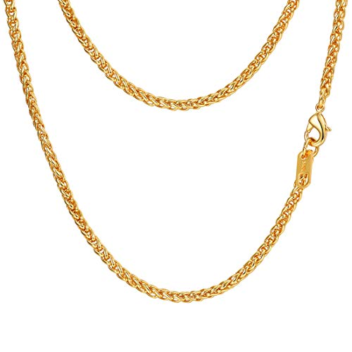 - PROSTEEL 18K Gold Plated Wheat Rope Chain Layering Necklace Men Women