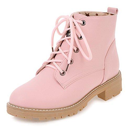SHOWHOW Damen Knöchel Stiefelette Martin Boots Kurzschaft Stiefel Pink 42 EU fbAsYo9