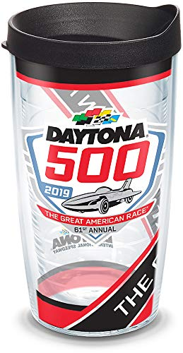 Tervis 1314822 NASCAR Daytona 500 Pattern Insulated Tumbler with Wrap Lid, 16 oz, Clear