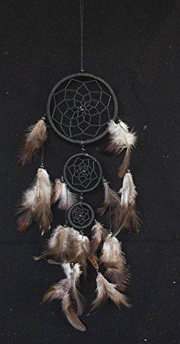 "Black Dream Catcher 3 Circles 3.5"" Dia 16"" Long Feather Decoration Hanging Craft"