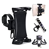 Universal Phone/Tablet Holder for Spinning Bike, Portable Smartphone and Tablet Stand for Treadmill Exercise Bike,Adjustable 360° Swivel Bracket Stand for 3.5-12' Smartphones and Tablets