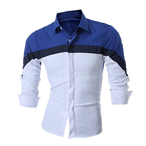 (Special Beauty Handsome,Slim Men Shirt Brand NEW Male Long Sleeve Shirts Casual Mens Three-Color Stitching Slim Fit Dress Shirts 2XL Sky Asia XXL 180CM 80KG)