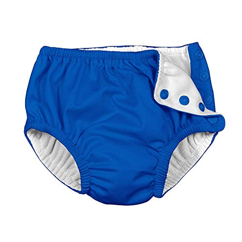 i play. by green sprouts Baby Snap Reusable Absorbent Swim Diaper   Trim, Lightweight, Patented Design, Royal Blue, 6mo