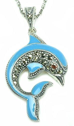 (Cute Happy Dolphin Enamel 925 Sterling Silver Marcasite Garnet Amulet Necklace- Fortune Fashion)