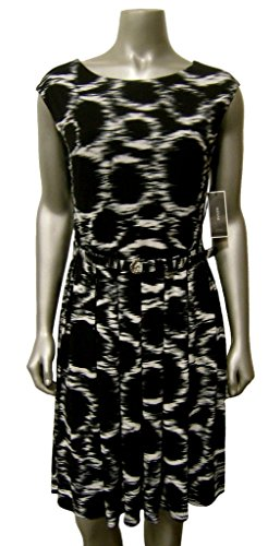 Alfani Women's Belted Pleated A-Line Dress Ikat Circles Black & White L