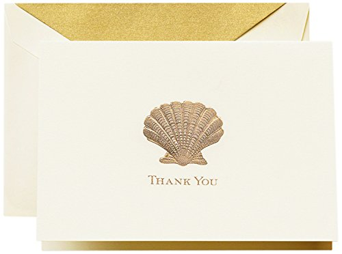 Crane & Co. Hand Engraved Scallop Thank You Note (CT1405), Pack of 10