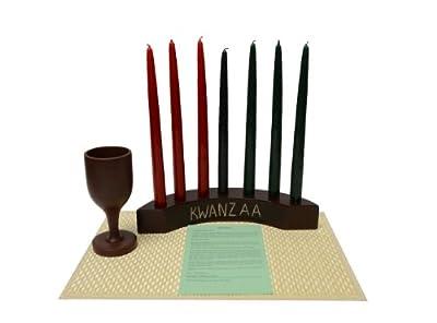 Kwanzaa Arc Candleholder & Celebration Set (Brown) - Made in Ghana