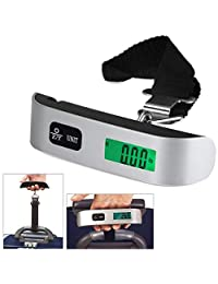 50kg/10g T-Shaped LCD Backlight Digital Hanging Luggage Scale Travel Weight(Color:Black & Silver)