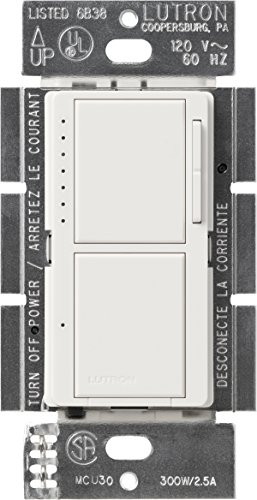Lutron MA-L3S25-WH Maestro 300 Watt Single-Pole Dual Dimmer and Switch, White Fan Dimmer Switches
