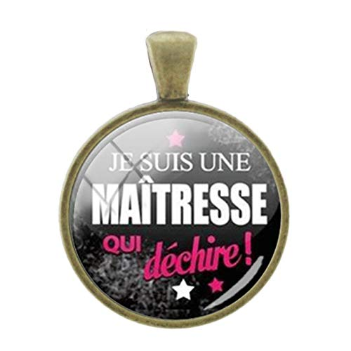 (Pendants -1Pc Cute Girl Picture Pendants Charms Thanks Mother Teacher Gift Handmade 25Mm Glass Bronze Plated Vintage Badge Jewelry - Je09 )