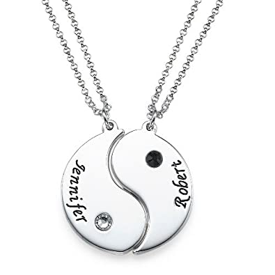 edd58d067 Image Unavailable. Image not available for. Color: Sterling Silver Engraved  Yin Yang 2 Pieces Necklace ...