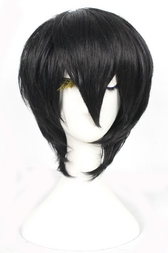 L-email 30cm Short Black Anime Straight Cosplay Party Wig Ml180