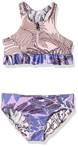 Maaji Big Girls' High Neck with Zip Front and Ruffle Trim Bikini Swimsuit Set, Copacabana Waves Purple Palm, ()