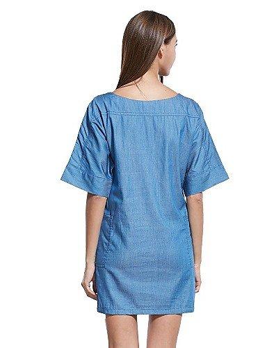 PU&PU Robe Aux femmes Gaine Simple / Street Chic,Couleur Pleine Col Arrondi Au dessus du genou Coton / Polyester , blue-s , blue-s
