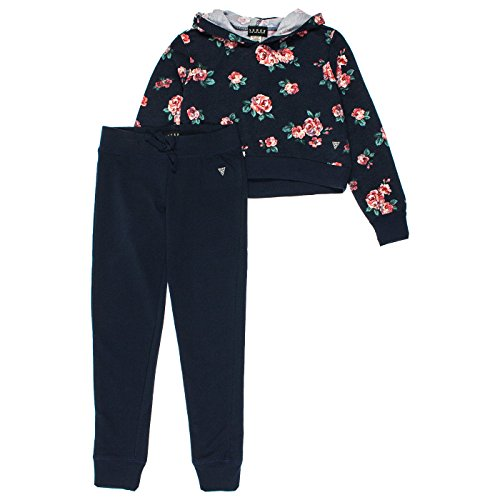 Guess Big Girls 2-Piece Cropped Hoodie & Lounge Pants Set, Navy, - Outlet Guess Store