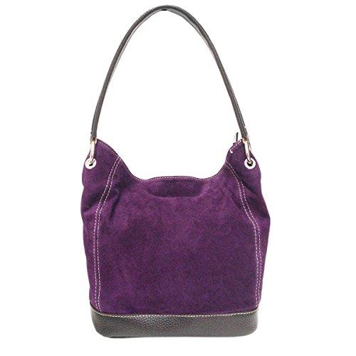 Purple Leather Large Real Tote Suede Bag Shoulder Handbag Italian Ladies Fzq6t