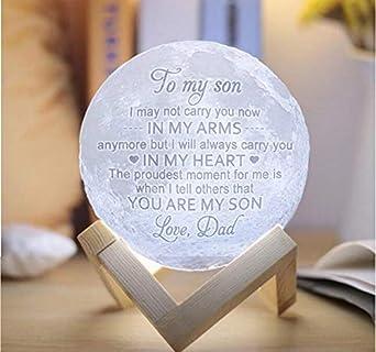 Grabada Lámpara Luna para My Love Daughter Son Impresión en 3D Luz de Luna Luz de Noche Ideas de Regalo de Papá Mamá-20cm16colores