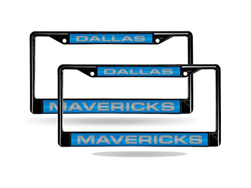 Rico Dallas Mavericks NBA Black Metal (2) Laser Cut License Plate Frame Set - Black Dallas Mavericks Frame