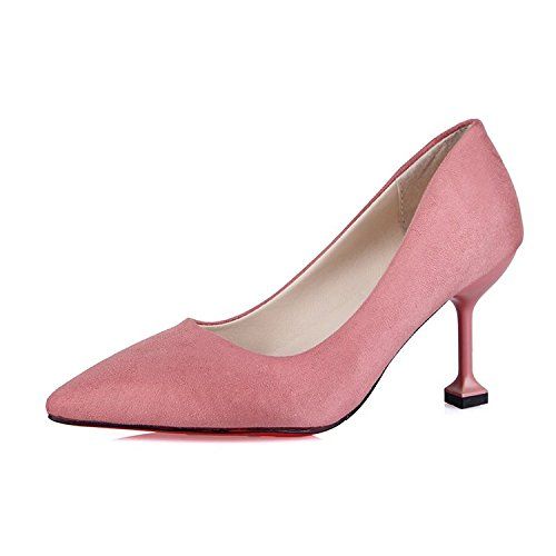 Xue Qiqi 10 cm Schwarz wild satin High Heels Heels Heels mit dünnen Schuhe pro Arbeit Schuhe für Frauen singles Schuhe, 36, pink 7 cm - aa17ae