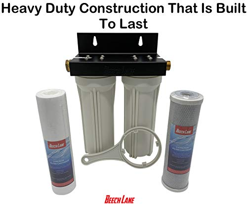Beech-Lane-External-RV-Dual-Water-Filter-System-Leak-Free-Brass-Fittings-Mounting-Bracket-and-Two-Filters-Included-Sturdy-Construction-is-Built-to-Last