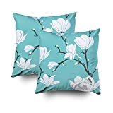 GROOTEY Decorative Cotton Square Set of 2 Pillow Case Covers with Zippered Closing for Home Sofa Decor Size 18X18Inch Costom Pillowcse Throw Cover Cushion,Magnolia