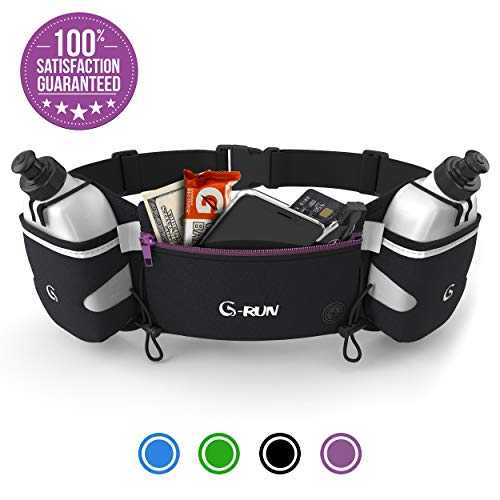 Hydration Running Belt With Bottles - Water Belts For Woman And Men - IPhone Belt For Any Phone Size - Fuel Marathon Race Pack For Runners - Jogging Waist Pouch