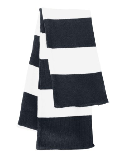 Rugby Stiped Knit Scarf, Color: Navy/ White, Size: One Size (Womens Rugby Navy)