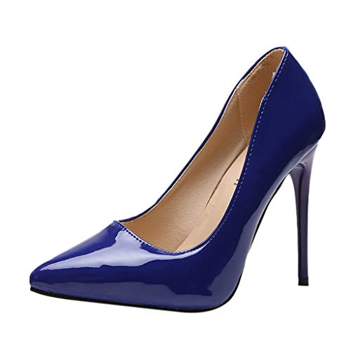 Aunimeifly Ladies Pointed Toe High Heels Shoes Women's Covered Toes Solid Color Jelly Business Stilettos Pumps Blue