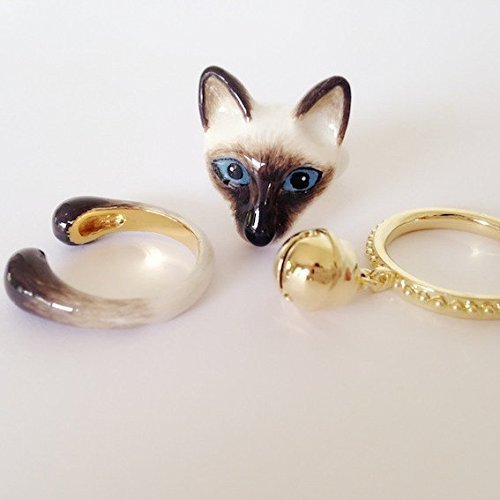 (Mary Lou Siam Cat with Bell Trio Ring Set )