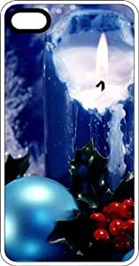 Blue Candle & Holly At Christmas Clear pc Case for Apple iPhone 4 or iPhone 4s