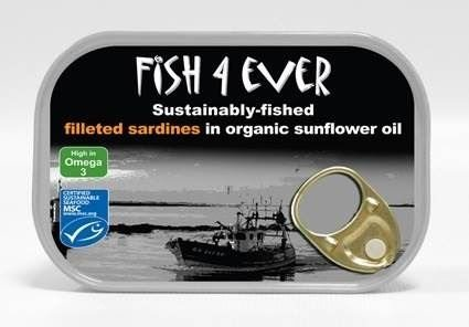 Fish 4 Ever Sardines Fillets in Organic Sunflower Oil (100g) - Pack of 6