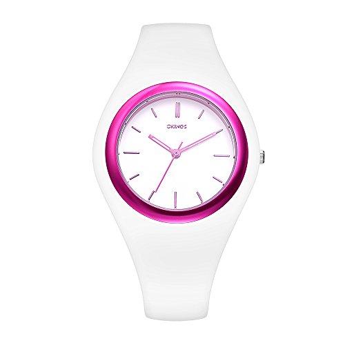 Juswoo OKINGS Silicone Strap Women's Watch, Japan Analog Quartz Sports Watch 30M Waterproof - Pink