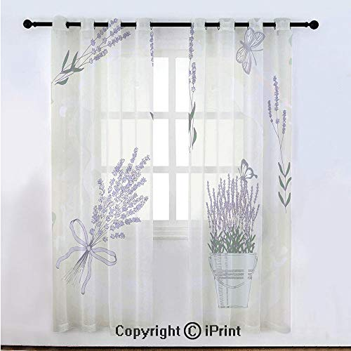 Lavender Semi Sheer Voile Window Curtain With Drapes Grommet,Floral Vintage Composition with Rustic Elements Butterflies Bouquets,for Bedroom,Living Room & Kids Room(108
