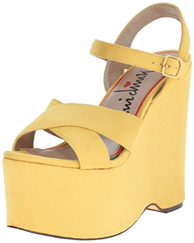 Luichiny Women's In Her Shoes Wedge Sandal, Yellow, 6.5 M (Luichiny Womens Dress Sandals)