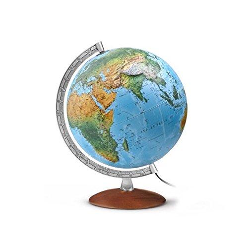 Reliefglobus FR 3010: FR3010, Leuchtglobus mit 3-D-Oberfläche, Durchm. 30 cm,klassisches Doppelbild, dunkler Echtholzfuß, Metallmeridian Landkarte – Globe, 1. April 2014 dunkler Echtholzfuß Räthgloben 1917 3934922694 144624