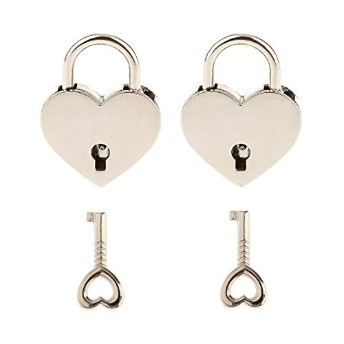2 Pieces Small Metal Heart Shaped Padlock Mini Lock with Key for Jewelry Box Storage Box Diary Book,Silver