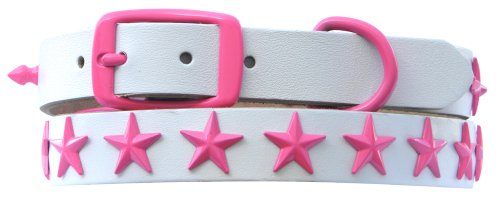Platinum Pets Genuine WLC24INPNKSTR Medium/Large Pearl White Leather Dog Collar with Stars, Bubblegum Pink, My Pet Supplies