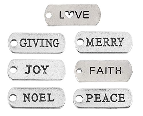 Christmas Inspirational Random Message Charm Pendants or DIY Ornaments, Silver Tone (100 Pack)