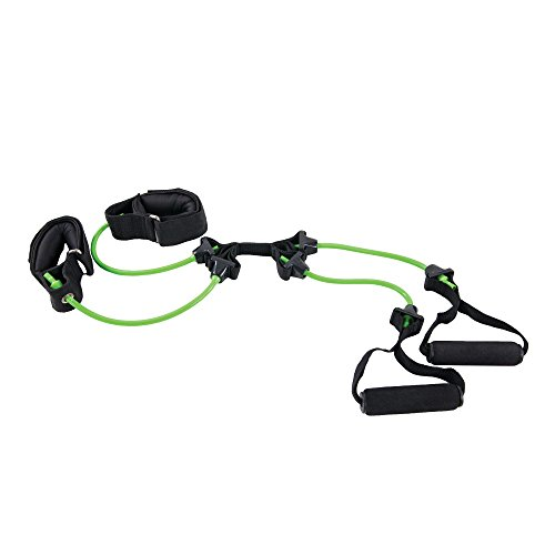 Power Systems Pilates Versa Tube, X Shaped Tubes with 2 Padded Handles and Cuffs, Resistance Band Level: Light, Lime Green, 25 Inches (84576)