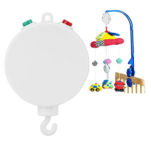 Crib Musical Box, Baby Infant Bed Hanging Music Electric Bell with 12pcs Looping Sweet Song Without Brackets Mobiles Battery-operated