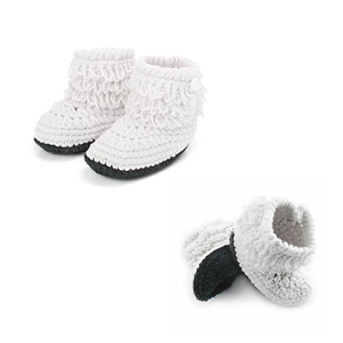 Dealzip Inc Unisex Boy Girls Baby Newborn Infant Hand Knitting Crochet White Tassel Buckle Shoes Socks Boots