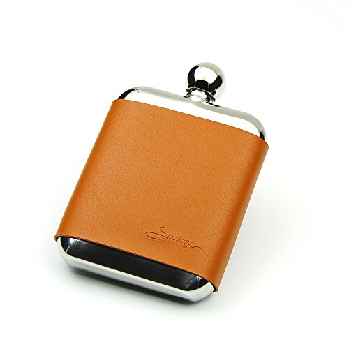 Savage 6oz Hip Flask in Removable Brown Leather Case 18/8 Stainless Steel by Savage