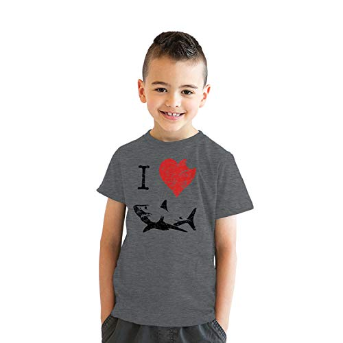 Kids' I Love Sharks T Shirt Classic Youth Shark Bite Shirt Shark Tee (Dark Heather Grey) - L