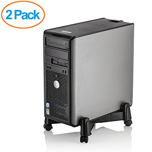 Halter LZ-401 PC Computer Stand Case Caddy for Desktop/Tower Cases with Adjustable Width and 4 Caster Rolling Wheels (2 Pack)