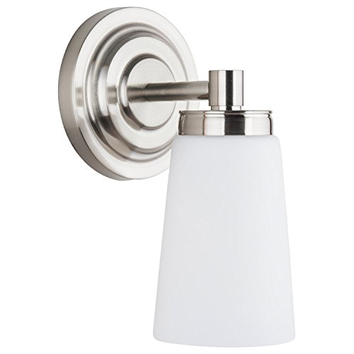 Nickel Light Single Brushed - Sheffield 1 Light Bathroom Vanity Brushed Nickel w/Frosted Glass Linea di Liara LL-WL260-1-BN