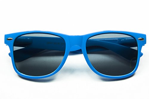Classic Retro Horn Rimmed Wayfarer Sunglasses Metal Spring Hinge Comfort Fit (Blue) (Wholesale Sunglasses Ny)